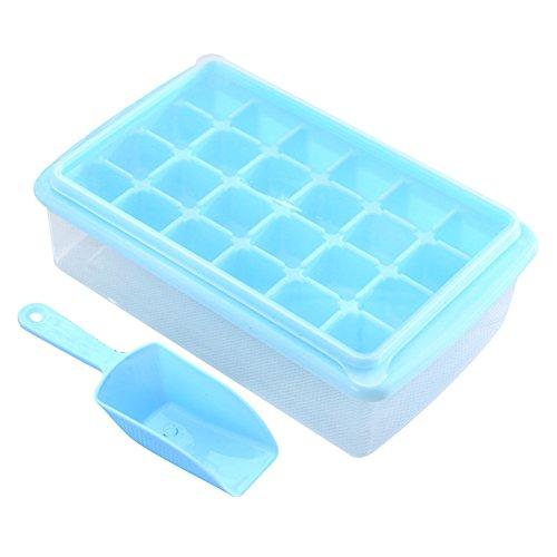 würfelform Kunststoff Eiswürfel Behälter Aufbewahrung Eiswürfelschale Mit Deckel Und Eisschaufel-Blau (Diamant Eis-würfel-behälter)