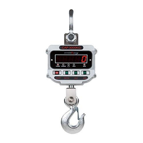 Steinberg Crochet Peseur Balance à Grue Professionnelle SSBS-KW-3TE (3 t / 0,5 kg, tolérance 0,033%, 26 x 64 x 19 cm, durée de fonctionnement 150h, Adapteur Incl, LCD)