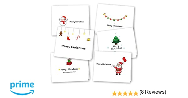Auguri Spiritosi Di Natale 4.Kuuqa 36 Pezzi 6 Disegni Cartoline Di Auguri Di Natale Con Buste E Adesivi