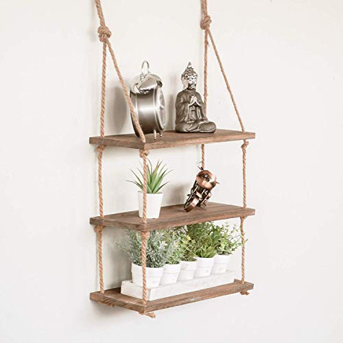 Ruiuzi Schwebendes Seil Regal mit 3 Etagen Vintage Chic Regal, rustikal, schwimmendes Regal, mehrstufiges Regal, zum Aufhängen an der Wand (DREI Reihen-Seil-Regal) (Rustikale Regale Wand)