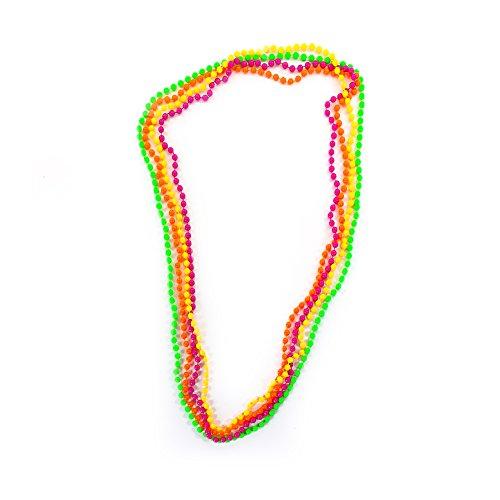te Perlenkette Neonfarben 4er Set - Fasching Karneval Party 80er Jahre Hippie Kette Perlenketten (Orange Halskette)