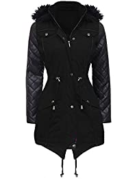 NEW Womens LADIES PARKA JACKET Quilted PU Sleeves WINTER COAT Size 8 10 12 14 16 18 20 22 24 (14, BLACK)