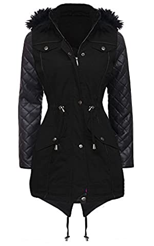 NEW Womens LADIES PARKA JACKET Quilted PU Sleeves WINTER COAT FISHTAIL Size 8-16 (10, BLACK)