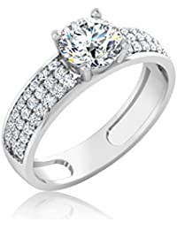 IskiUski White Gold And American Diamond Ring For Women - B075VH81W4