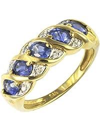 Ivy Gems mujer  9 k (375)  oro amarillo talla ovalada   azul zafiro