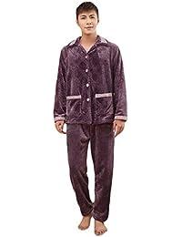 Auspicious beginning Hombre de manga larga de franela de invierno Botón arriba Juego de ropa de dormir ocasional de pijama