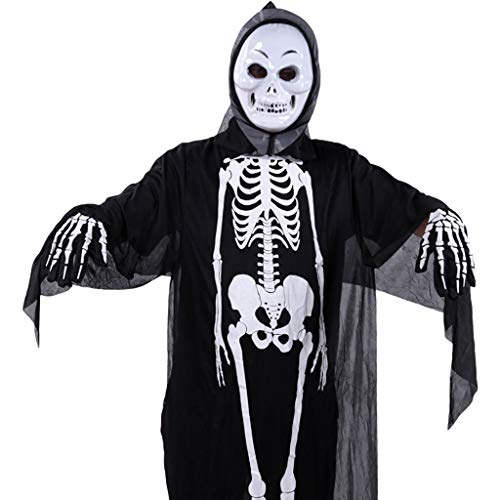 Black Kostüm Cape Ghost Erwachsene Für - LGP Halloween Horror Black Skeleton Ghost Erwachsene Cosplay Ghost Party Tod Teufel Hölle Weiß Ghost Kostüm Einschließlich Skeleton Kleidung, Maske, Stoffhandschuhe,Blacke