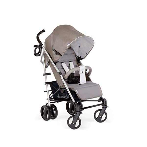 Hauck Vegas, Lightweight Pushchair with Lying Position, from Birth to 25 kg, Buggy with Cup Holder, Umbrella Fold Pushchair, Charcoal Hauck Easy folding - this comfort stroller can be folded away extra flatly making it suitable for almost any car boot; the buggy on travels and family trips Long use - this modern pushchair can be used for a long period of time: It is suitable From birth up to 25 kg Comfortable - with backrest and footrest adjustable into lying position, extendable hood with UV protection, soft padding, suspension, swivelling front wheels and ergonomically shaped push handles 1