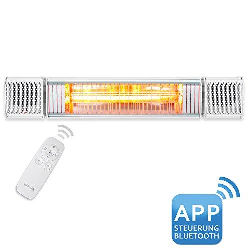 VASNER Appino BEATZZ Infrarot-Heizstrahler weiß, Terrassenstrahler dimmbar 2000 W, Bluetooth, LED Backlight Licht, Musik-Lautsprecher Außenbereich