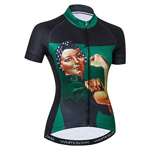 Radtrikot Frauen Fahrrad Trikot MTB Trikot Tops für Frau Damen Radtrikot Pro Team Mountain Road Trikot Kurzarm Renn Hemden atmungsaktiv Sommer Kleidung Schwarz Grün Größe L