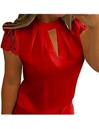 15ccf1684364a LuckyGirls Tee Shirts Femme Chic Mousseline Fleur Dentelle Patchwork Haut  Épaules Nues Tops Décontractée Loose…