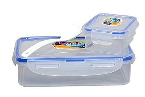 Kp clear transparent lock & fit rectangular bpa free plastic food /Sandwich & Snacks Keeper lunch box With small lock and fit Cury container and fork spoon For school going kids office and workers ( 600 ML medium)  available at amazon for Rs.149
