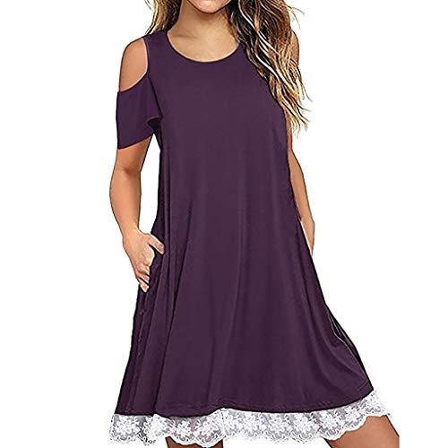 iYmitz Sommer Damen O Hals Rundausschnitt Beiläufige Spitze Solide Kurzarm Kleid lose Frauen Camisole Partykleid(Violett,EU-36/CN-M)