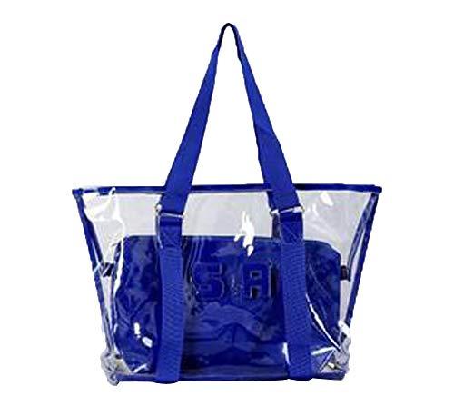 Lazzboy 2 Stück Handtasche Umhängetasche Schultertasche Mode Frauen Klar Strandtasche Wasserdichte (große Tasche + kleine Tasche)(Blau) -