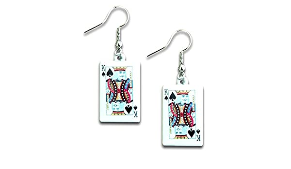 Pashal Boucles doreilles pendantes pour cartes /à jouer Motif roi de pique Noir