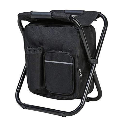 WODT Faltender kampierender Stuhl im Freien, tragbarer Rucksack-Kühler isolierte die Picknicktasche, die Sitztabellentaschen wandert,Black -