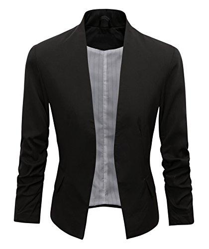 Benibos Women's Folding Sleeve Office Blazer (L, Black)
