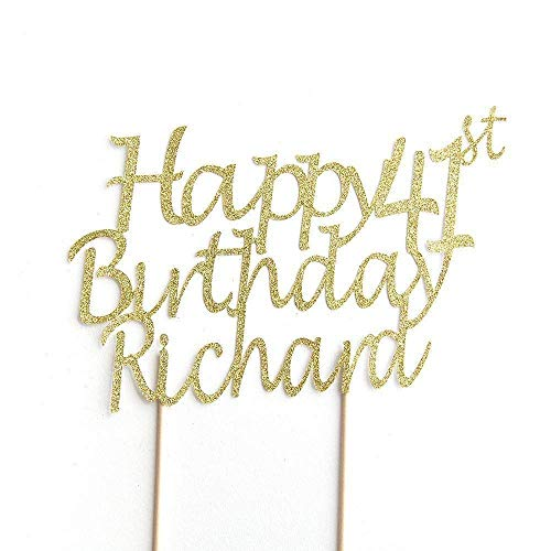 Happy Birthday All Ages Birthday Cake Topper Party Decoration. Personalised with Custom Name and Age. 41st Birthday. Any Glitter Colour Cake Decoration. Rose Gold.
