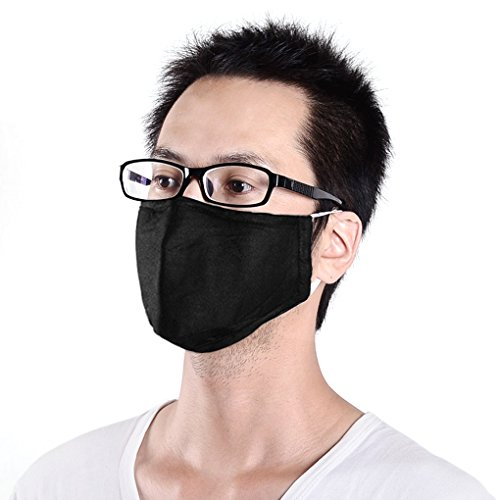 3 x Greenery Cotton and Active Carbon Filtering Mask with earloops Anti Dust Anti Virus Flu Face Mouth Mask Reusable Mask to Prevent Dust and Pollution (Navy blue+Black+Blue) Test