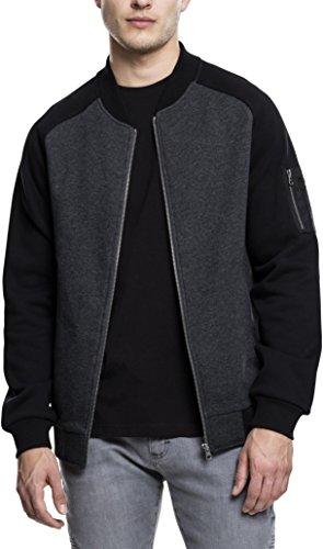 Urban Classics Herren Sweatshirtjacke 2-Tone Raglan Sweat Bomber - Farbe cha/blk, Größe XL -
