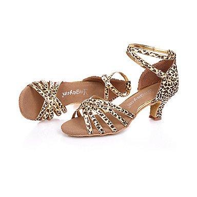 Scarpe da ballo-Non personalizzabile-Da donna-Balli latino-americani / Moderno-A stiletto-Di pelle-Nero / Blu / Dorato / Leopardato leopard