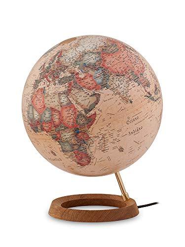 Tecnodidattica - Mappamondo Atmosphere FC1, luminoso, girevole, base in legno di Rovere, cartografia Stile Antico, diametro 30 cm