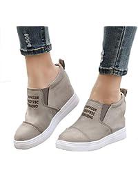 Zapatillas Deportivas De Mujer Cuña Ante Piel Altas Plataforma 7 CM Tacon Sneakers Planos Zapatos Mocasines