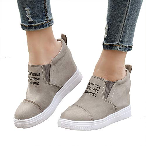 Miuko Plateau Sneaker Damen Leder Keilabsatz Hohe 7 cm Absatz Slip On Wildleder Loafers Wedges Ankle Boots Casual Bequeme Khaki 38
