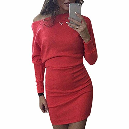 Femmes Sexy Encolure manches Long Cool Slim paquet Hanches Mini Dressses Rouge