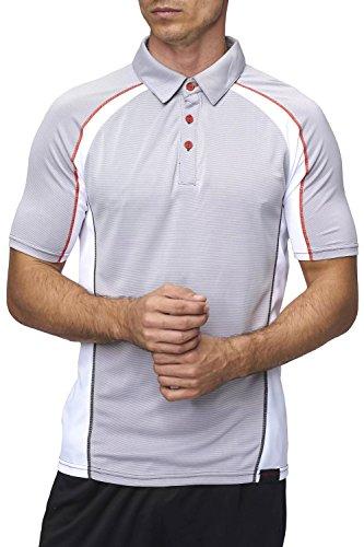 Sundried Herren Sport Polo Shirt AKTIV Fitness Bekleidung (Medium, Grau) -
