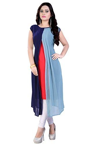Clothfab Women's Georgette Stylish Long Kurti (Multi-Color-Size-X-Large)