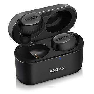 ANBES Wireless Earphones, True Wireless Headphones with Deep Bass Stereo Sound, Bluetooth 5.0 Wireless Earbuds Built-in Mic, in-Ear Headset Anti-Slip Design Hands-Free Calls