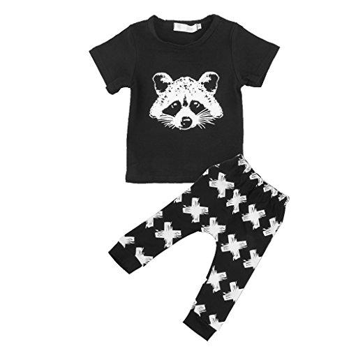 Kinder Baby Kurzärmelig T-shirt Top Bluse Hose Outfit-set Ver. Größe & Farbe - #1, 100