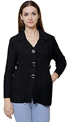 Rebecca Women's Wool Cardigan Black (Size L,Bust 36 to 40 inches)