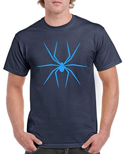 Comedy Shirts - Halloween Spinne - Herren T-Shirt - Navy/Blau Gr. L