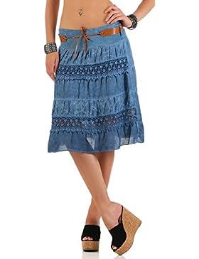 malito verano falda con cinturón tramo et cinturón 16167 Mujer Talla Única (azul oscuro)