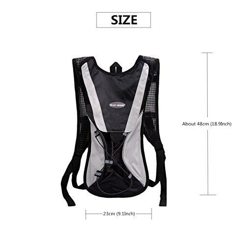 West Biking stärker Hydration Backpack + 2,5l Wasser Rucksack, muli-functions Kleine Werkzeuge Tasche, leichte Tasche für Reiten Camping Bergsteigen Bergsteigen, 6Farben Black Backpack