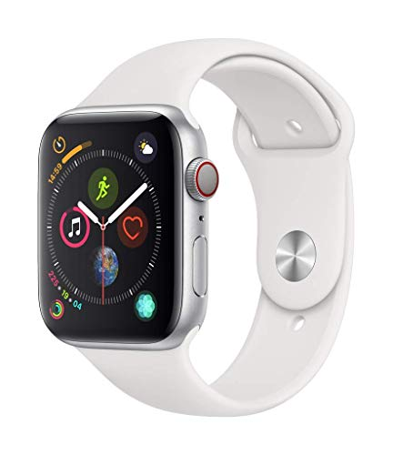 Apple Watch Series 4 (GPS + Cellular) con caja de 44 mm de aluminio en plata y correa deportiva blanca