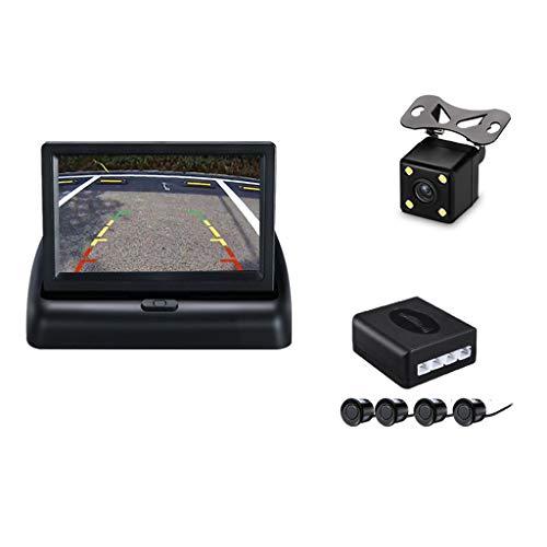 Visuelles Rückfahrradarsystem mit 4,3-Zoll-Klappdisplay und Radarsonde zur Überwachung des toten Winkels im Auto - für Kleinwagen - Rückfahrleuchte Linse