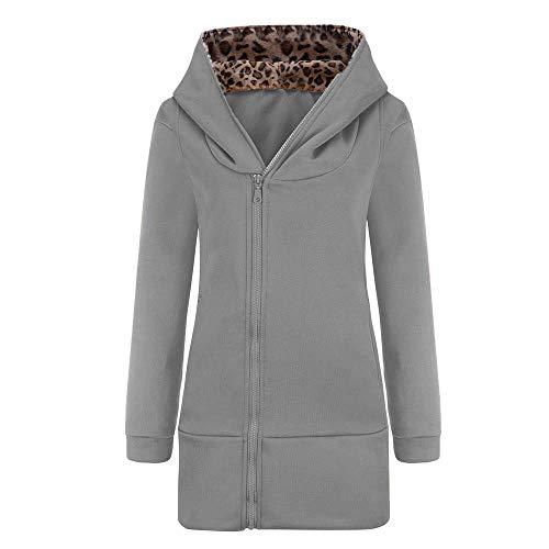 TOPKEAL Jacke Mantel Damen Herbst Winter Sweatshirt Steppjacke Kapuzenjacke Leopard Druck Hoodie Reißverschluss Pullover Lange Ärmel Outwear Warm Coats Mode Tops -