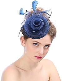 WYDM Donna Elegante Fascinator Cappello da Sposa Piuma Accessori per Capelli  Cocktail Royal Ascot (Colore 779fc8bc2861