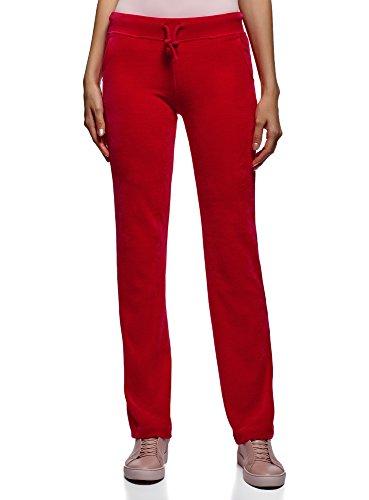 oodji Ultra Femme Pantalon en Velours avec Cordon de Serrage, Rouge, FR 44 / XL
