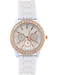 KMS White Round Dial Stylish Women Analog Watch
