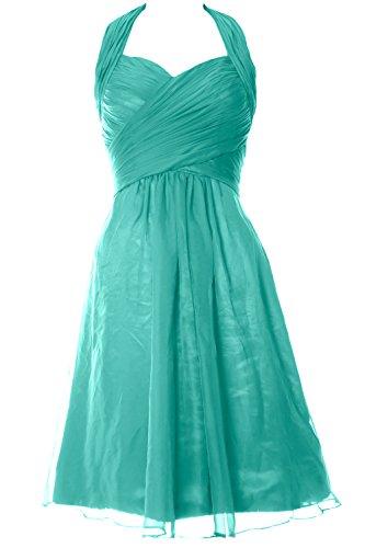 MACloth donne chiffon abito corto Halter damigella d' onore, abito da festa di nozze Turquoise 34