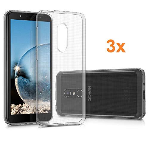REY Pack 3X Transparente Silikonhülle TPU für ALCATEL 1C (Single SIM), Handyhülle Premium Kratzfest TPU Durchsichtige Schutzhülle, Ultradünne 0,33 mm