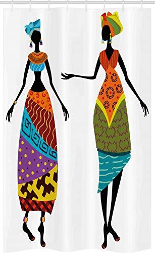 Themen Stammes Kostüm - ABAKUHAUS afrikanische Frau Schmaler Duschvorhang, Stammes-Kostüme, Badezimmer Deko Set aus Stoff mit Haken, 120 x 180 cm, Mehrfarbig