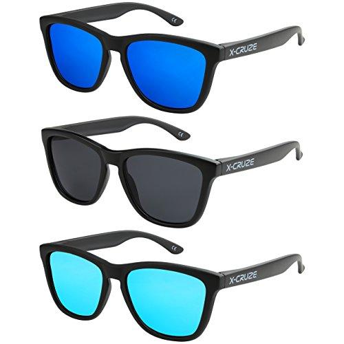 X-CRUZE 3er Pack X0 Nerd Sonnenbrillen polarisierend Vintage Retro Style Stil Unisex Herren Damen Männer Frauen Brillen Nerdbrille Nerdbrillen - schwarz matt LW - Set O -