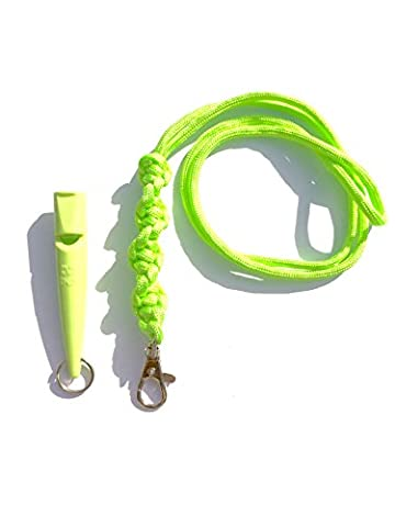 Acme 211.5 Dog Whistle & Lanyard with Barley Twist Knot 3mm in Lime Green