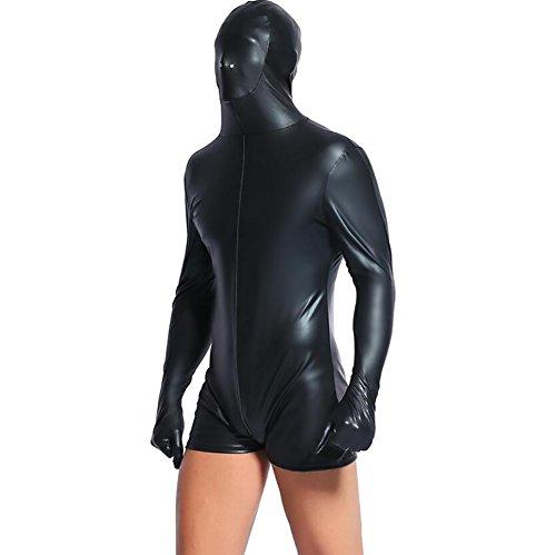 SHANGLY Sexy Männer Wetlook Latex Catsuit EIN Rückseiten-Reißverschluss Bodysuit Erotisch Nachtclubs Performance Kostüm,XL