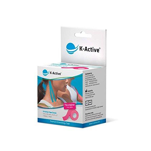 K-Active Tape Classic I 5 m x 50 mm I Kinesiologisches Tape für Nacken, Schulter, Rücken, Knie, Ellenbogen sowie andere Körperteile I elastisches Tape, gute Hautverträglichkeit (pink)